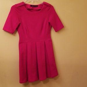 Zara Woman XS Red Short Sleeved DressCotton Blend